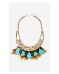 Express | Natural Turquoise, Feather And Cord Necklace | Lyst