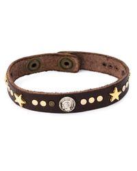DIESEL | Brown Studded Bracelet for Men | Lyst
