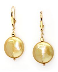 Effy | White 14kt. Yellow Gold Freshwater Pearl Coin Earrings | Lyst