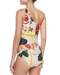 Jean Paul Gaultier - Multicolor One-Shoulder Sheer Printed Coverup - Lyst