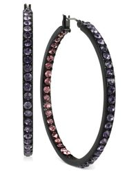 Betsey Johnson | Black-tone Crystal Inside-out Hoop Earrings | Lyst