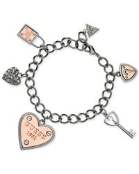 Guess | Metallic Engraved Logo And Crystal Accent Charm Bracelet | Lyst