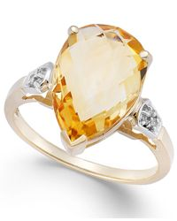 Macy's | Metallic Citrine (5 Ct. T.W.) And Diamond Accent Pear Ring In 14K Gold | Lyst