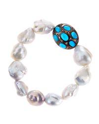 Bavna | White Freshwater Pearl Turquoise Diamond Bracelet | Lyst