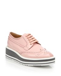 Prada | Pink Leather Platform Wingtip Brogues | Lyst