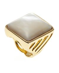 Rachel Zoe | Metallic Gold-Plated Mother-Of-Pearl Ring | Lyst