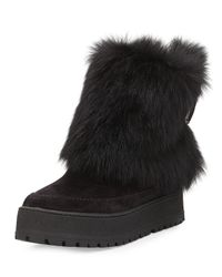 Prada - Black Fold-Over Fur & Suede Winter Boot - Lyst