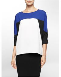 Calvin Klein | Blue White Label Lightweight Colorblock 3/4 Sleeve Top | Lyst