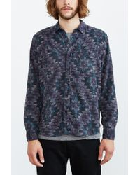 Stapleford - Blue Roan Printed Flannel Button-down Shirt for Men - Lyst