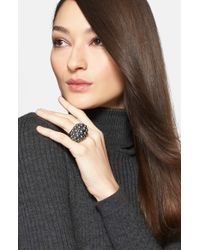 St. John | Black Faux Pearl Cocktail Ring - Ruthinium/ Crystal/ Grey Pearl | Lyst