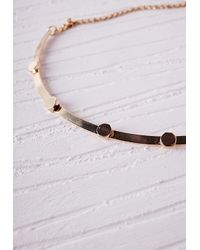 Missguided | Metallic Thin Bead Detail Choker Gold | Lyst