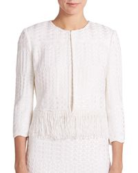 St. John | White Multi-stitch Fringed Knit Jacket | Lyst
