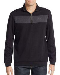 Calvin Klein | Black Colorblock Zip-front Sweater for Men | Lyst