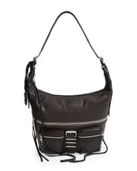 Ash | Black 'Maze' Leather Crossbody Hobo | Lyst