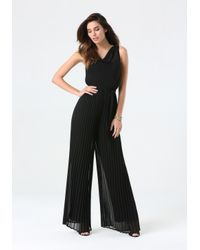 Bebe - Black Pleated Wide Leg Jumpsuit - Lyst