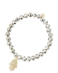 Sydney Evan | White 6mm Faceted Silver Pyrite Beaded Bracelet With 14k Yellow Gold/diamond Medium Hamsa Charm (made To Order) | Lyst