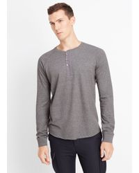 VINCE | Black French Terry Long Sleeve Henley for Men | Lyst