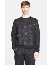 Versace Jeans - Black Floral Print Textured Sweatshirt for Men - Lyst