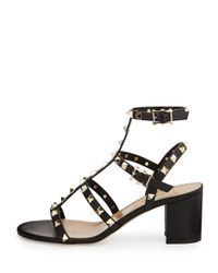 Valentino - Black Rockstud Leather T-Strap Sandals  - Lyst