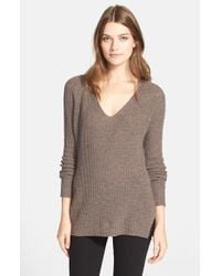 Autumn Cashmere | Brown Shaker Stitch Cashmere V-neck Sweater | Lyst