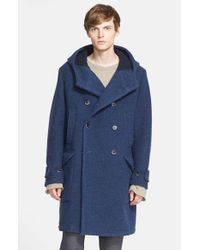 Barena - Blue Hooded Double Breasted Virgin Wool Duffle Coat for Men - Lyst