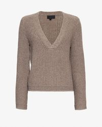 Exclusive For Intermix | Brown Bell Sleeve V-neck Sweater | Lyst