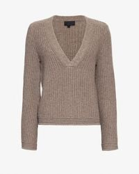 Exclusive For Intermix - Brown Bell Sleeve V-neck Sweater - Lyst
