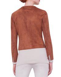Akris - Brown Suede Zip-front Jacket - Lyst