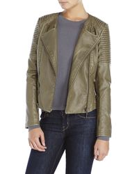 Raison D'etre | Green Faux Leather Double-Zip Moto Jacket | Lyst