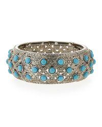 R.j. Graziano - Blue Cabochon Stretch Cuff Bracelet - Lyst