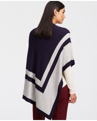 Ann Taylor - Blue Colorblock Luxe Poncho - Lyst