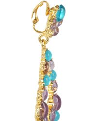 Kenneth Jay Lane   Blue Goldplated Cabochon Clip Earrings   Lyst