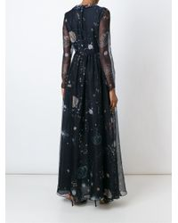 Valentino - Blue 'cosmo' Evening Dress - Lyst
