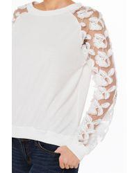 AKIRA - Flowerbed White Mesh Sleeve Sweater - Lyst