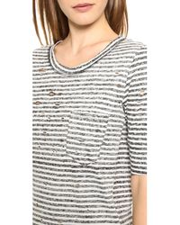 Free People - Black Striped Shredded Tee - Lyst