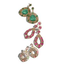 Bavna - 18k Yellow Gold Oval Earrings With Diamonds And Multicolor Tourmaline - Lyst