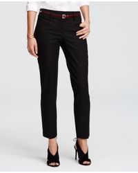 Ann Taylor - Black Kate Cotton Twill Skinny Ankle Pants - Lyst