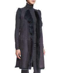 Theory - Gray Curako B. Hollice Fur Vest - Lyst