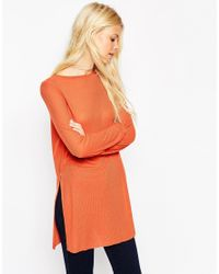 ASOS | Orange Longline Top With Side Splits And Long Sleeves | Lyst