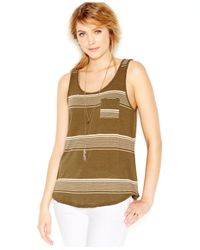 Lucky Brand | Green Lucky Brand Sleeveless Variagated-striped Tank | Lyst