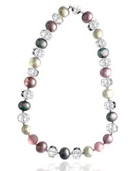 Lord & Taylor | Metallic Sterling Silver And Quartz Bead Necklace | Lyst