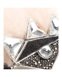 Fendi | Metallic Crystal And Fox-Fur Embellished Double-Finger Ring | Lyst