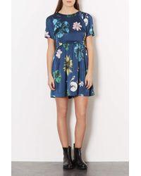 TOPSHOP | Blue Tokyo Bud Tunic Dress | Lyst