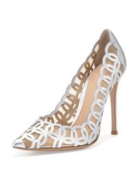 Gianvito Rossi - Laser-Cut Metallic Leather Pumps - Lyst