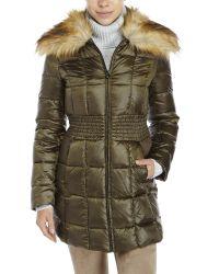 Laundry by Shelli Segal - Green Faux Fur Collar Down Coat - Lyst
