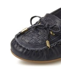 Dune | Blue Goff Woven Moccasin Loafers | Lyst