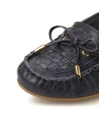 Dune - Blue Goff Woven Moccasin Loafers - Lyst