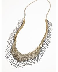 Free People - Metallic Chainmail Fringe Necklace - Lyst