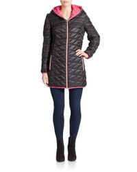 Betsey Johnson | Black Quilted Zip Front Coat | Lyst