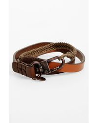 Caputo & Co. - Brown . Leather Wrap Bracelet for Men - Lyst